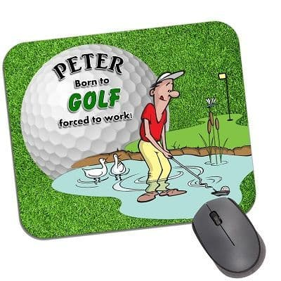 Personalised Any Name Born to Golf Mouse Pad PC Computer Mat N32